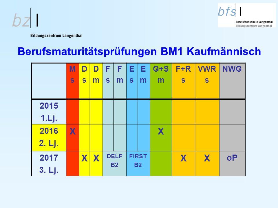 Berufsmaturitätsprüfungen BM1 Kaufmännisch