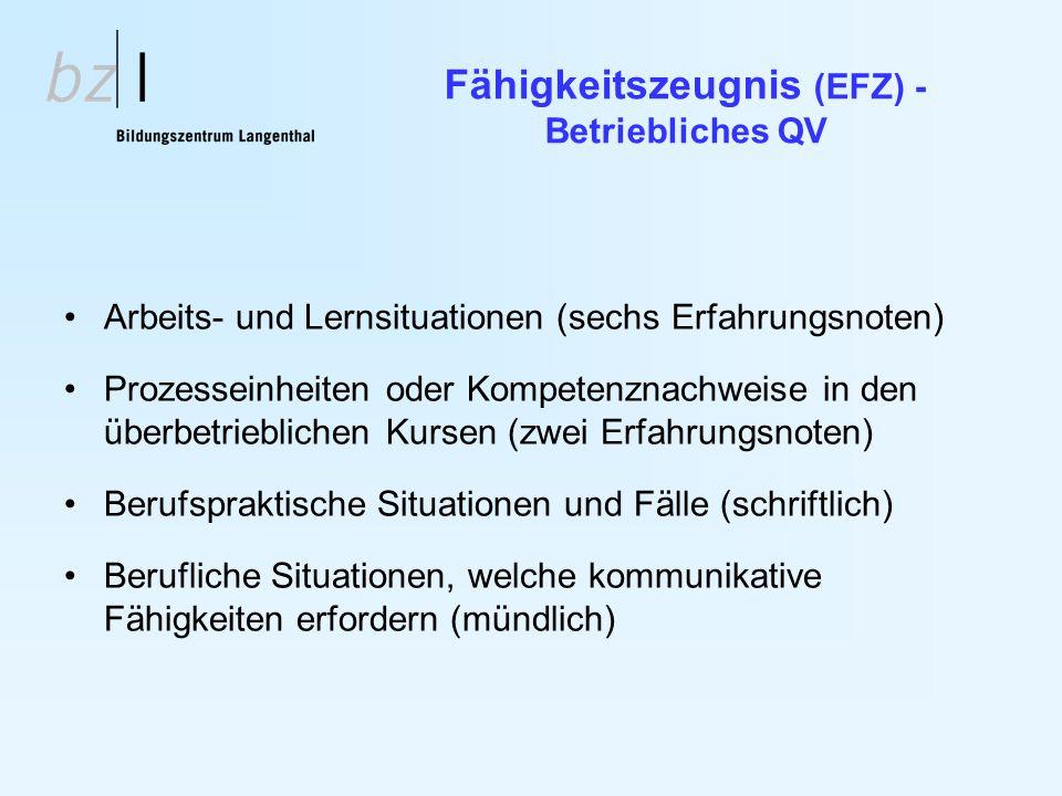 Fähigkeitszeugnis (EFZ) - Betriebliches QV