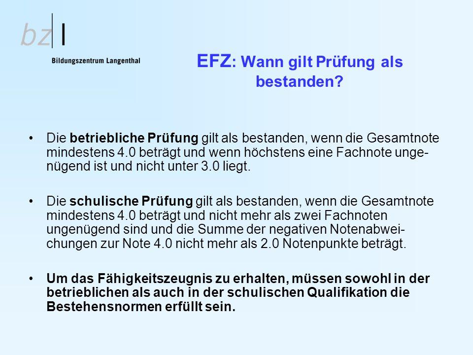EFZ: Wann gilt Prüfung als bestanden
