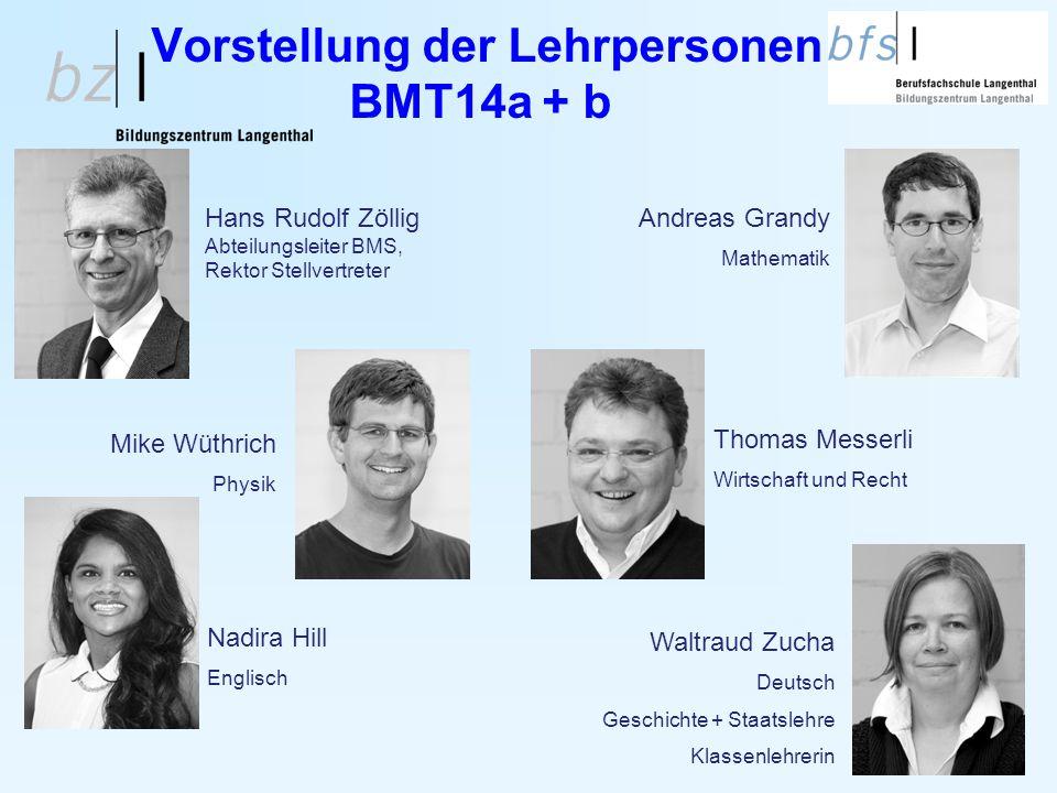 Vorstellung der Lehrpersonen BMT14a + b