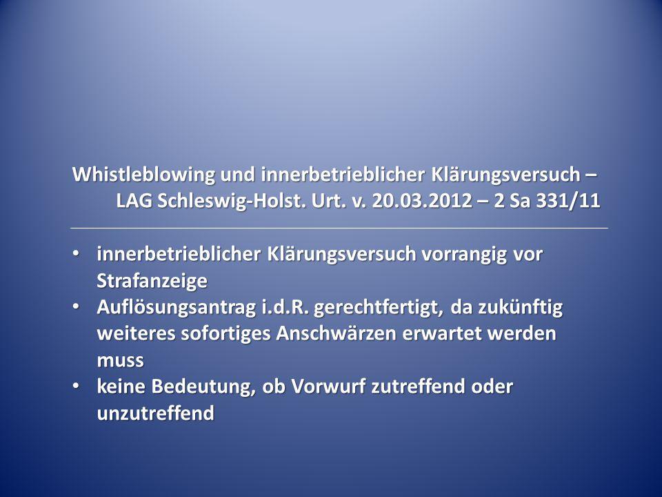 Whistleblowing und innerbetrieblicher Klärungsversuch –