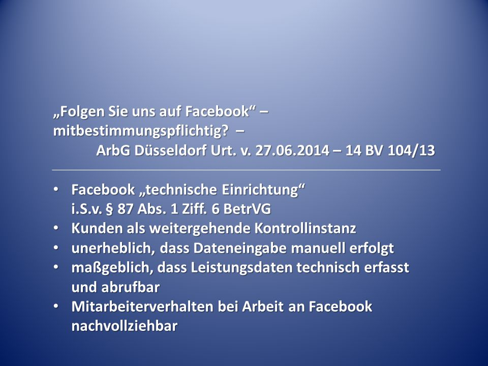 """""""Folgen Sie uns auf Facebook – mitbestimmungspflichtig –"""