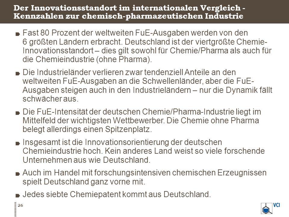 Der Innovationsstandort im internationalen Vergleich - Kennzahlen zur chemisch-pharmazeutischen Industrie