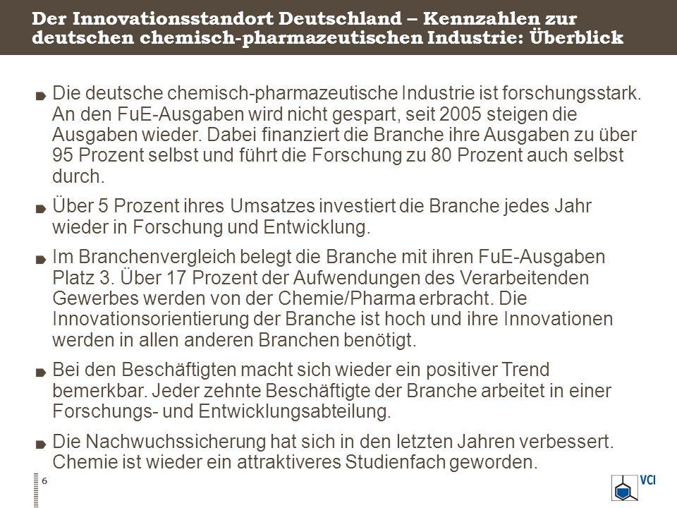 Der Innovationsstandort Deutschland – Kennzahlen zur deutschen chemisch-pharmazeutischen Industrie: Überblick