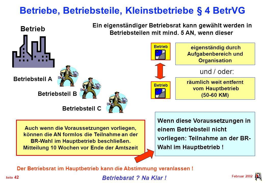 Betriebe, Betriebsteile, Kleinstbetriebe § 4 BetrVG