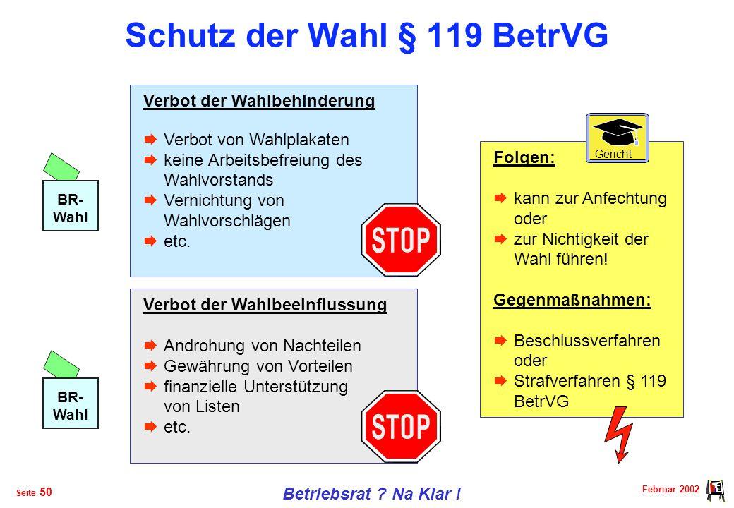 Schutz der Wahl § 119 BetrVG