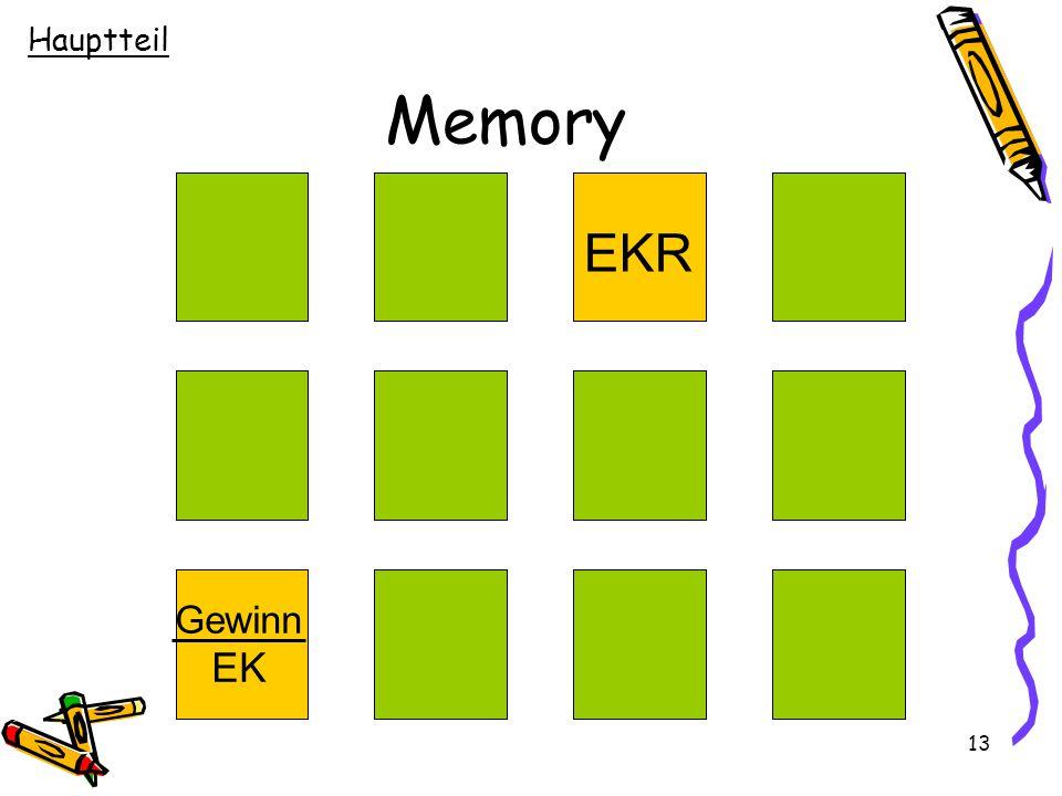 Hauptteil Memory EKR Gewinn EK