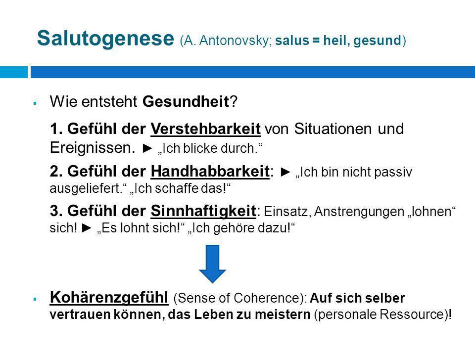 Salutogenese (A. Antonovsky; salus = heil, gesund)