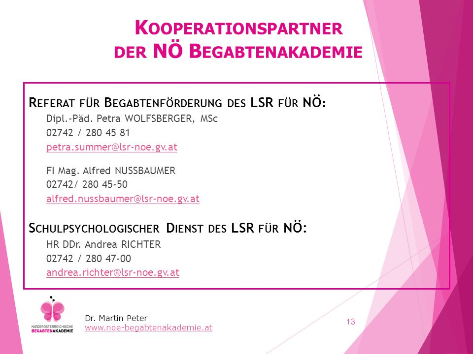 Kooperationspartner der NÖ Begabtenakademie