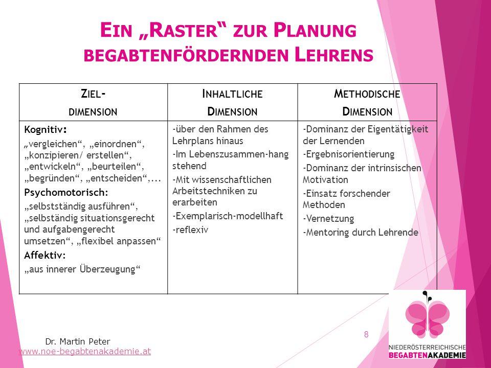 """Ein """"Raster zur Planung begabtenfördernden Lehrens"""