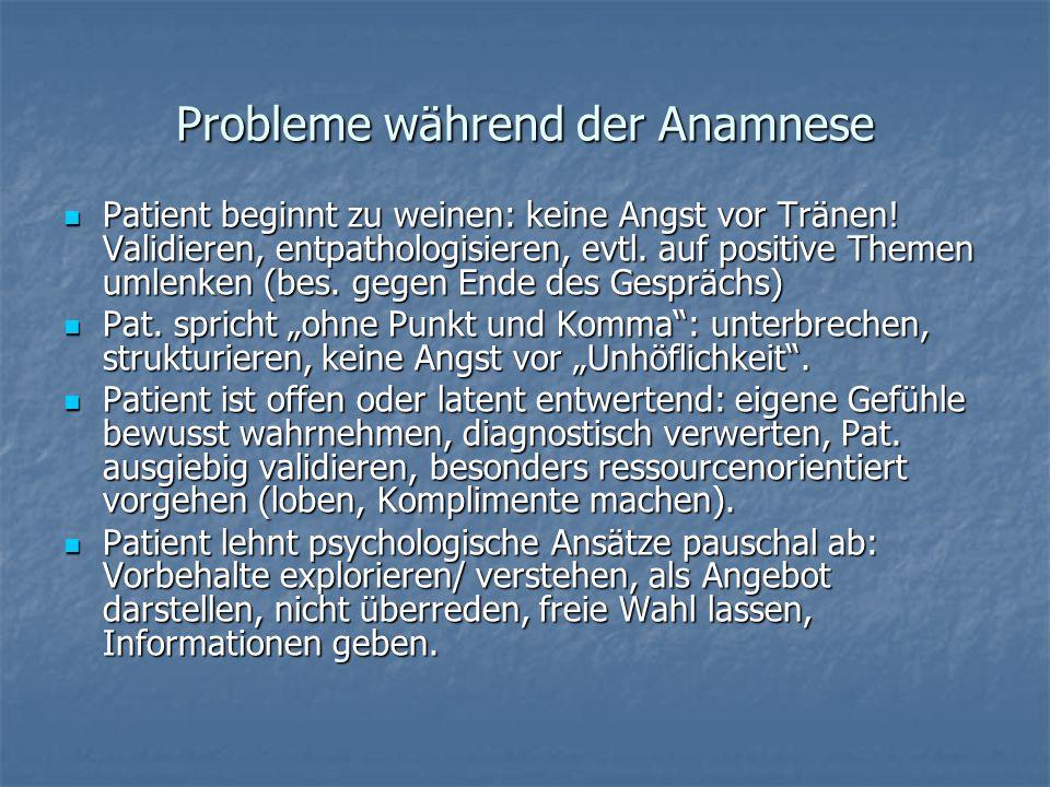 Probleme während der Anamnese