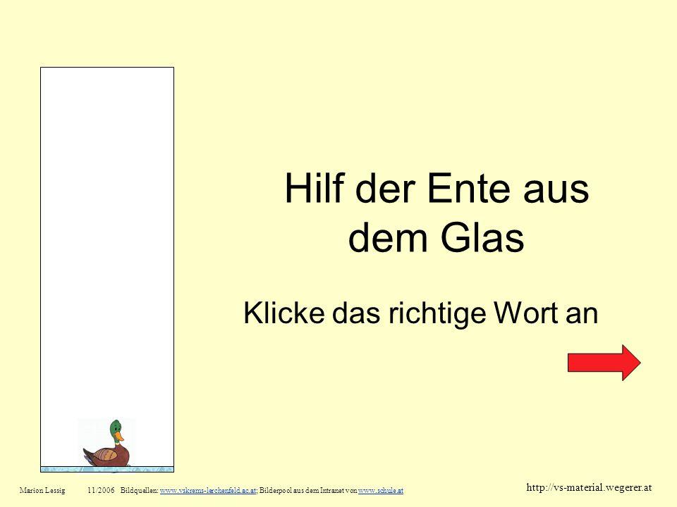 Hilf der Ente aus dem Glas