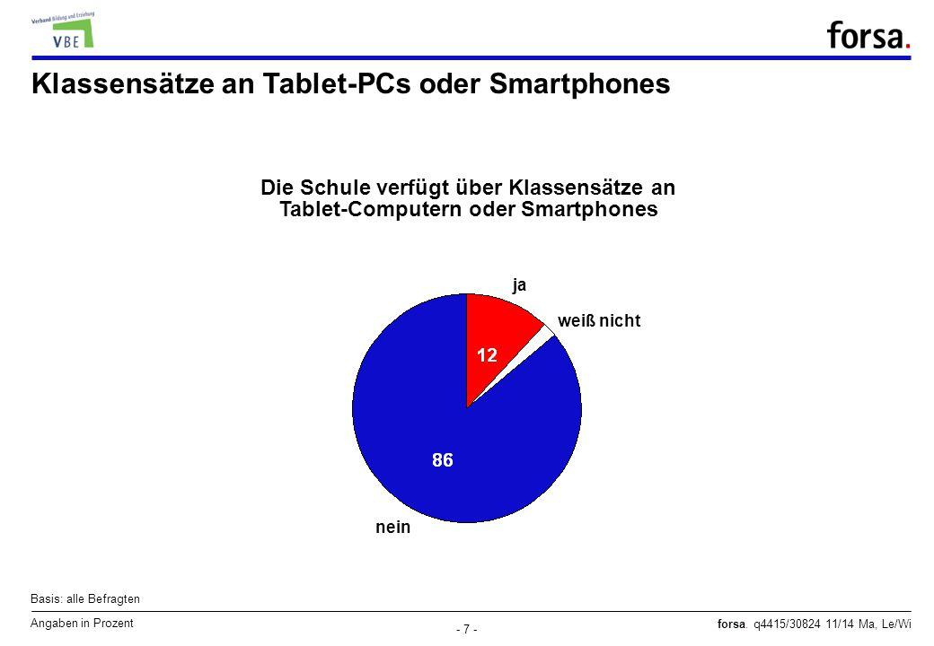 Klassensätze an Tablet-PCs oder Smartphones