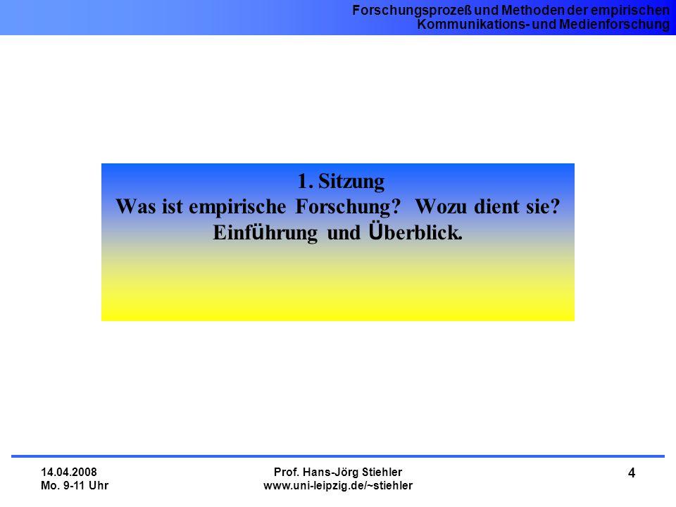 Was ist empirische Forschung Wozu dient sie Prof. Hans-Jörg Stiehler