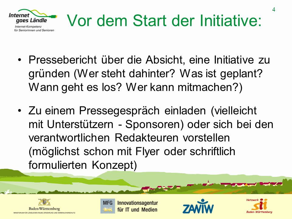 Vor dem Start der Initiative:
