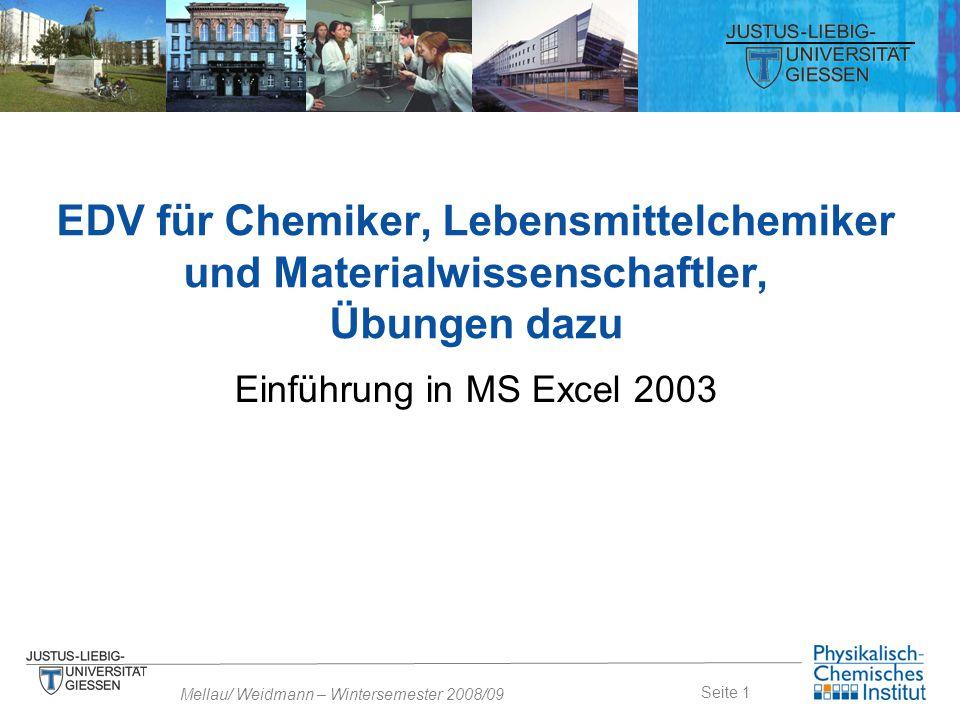 EDV für Chemiker, Lebensmittelchemiker und Materialwissenschaftler, Übungen dazu