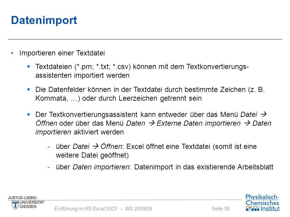 Datenimport Importieren einer Textdatei
