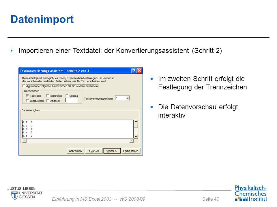 Datenimport Importieren einer Textdatei: der Konvertierungsassistent (Schritt 2) Im zweiten Schritt erfolgt die Festlegung der Trennzeichen.