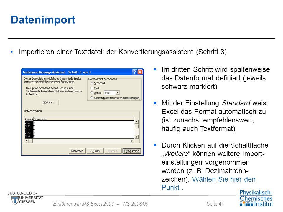 Datenimport Importieren einer Textdatei: der Konvertierungsassistent (Schritt 3)