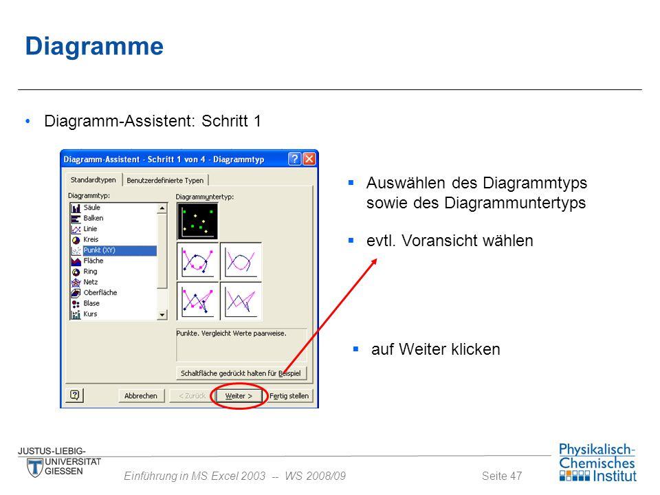Diagramme Diagramm-Assistent: Schritt 1