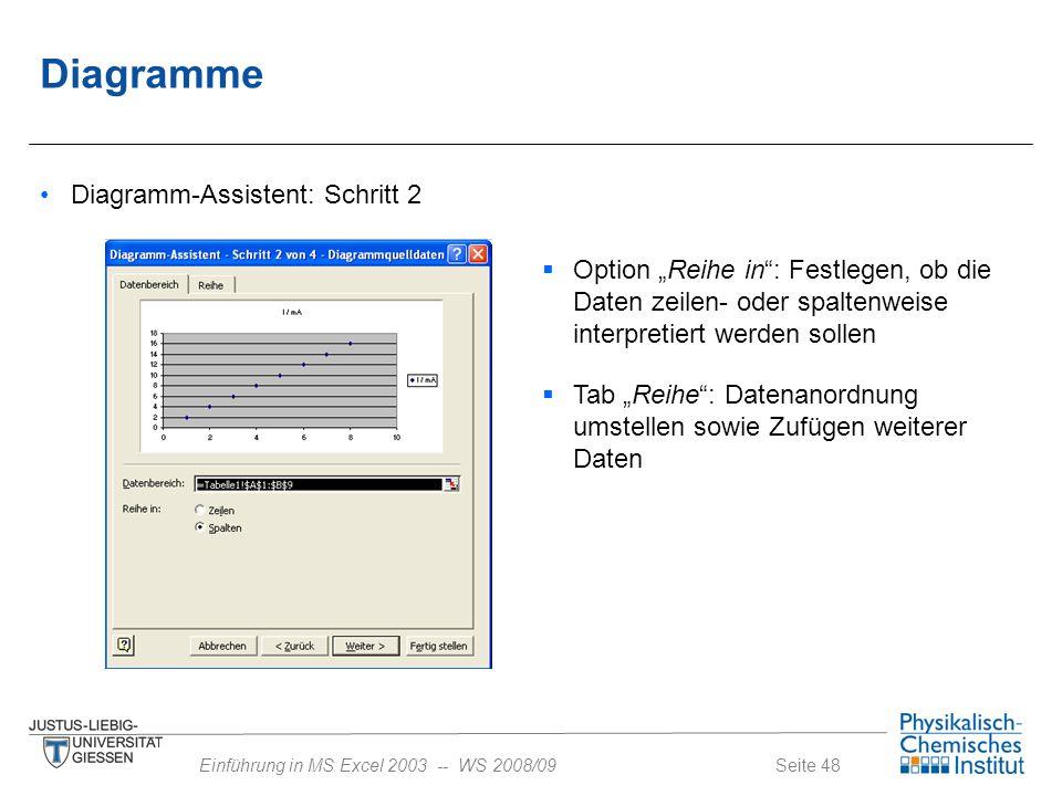 Diagramme Diagramm-Assistent: Schritt 2