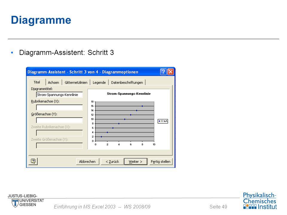 Diagramme Diagramm-Assistent: Schritt 3