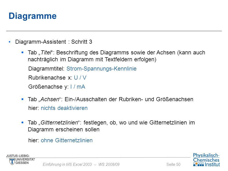 Diagramme Diagramm-Assistent : Schritt 3