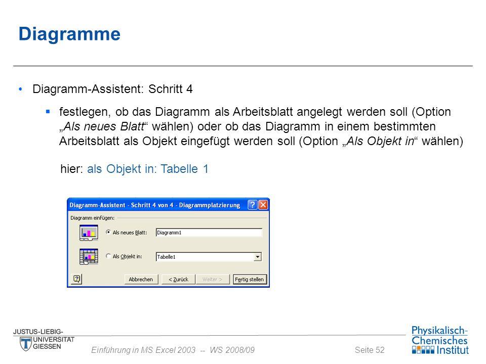 Diagramme Diagramm-Assistent: Schritt 4