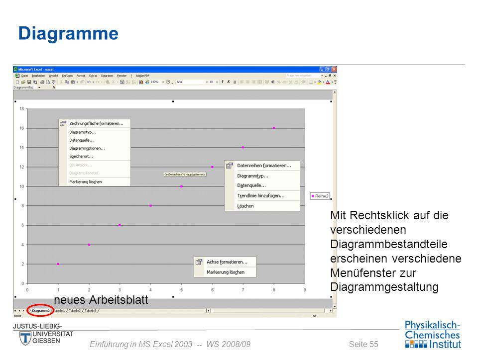 Diagramme Mit Rechtsklick auf die verschiedenen Diagrammbestandteile erscheinen verschiedene Menüfenster zur Diagrammgestaltung.