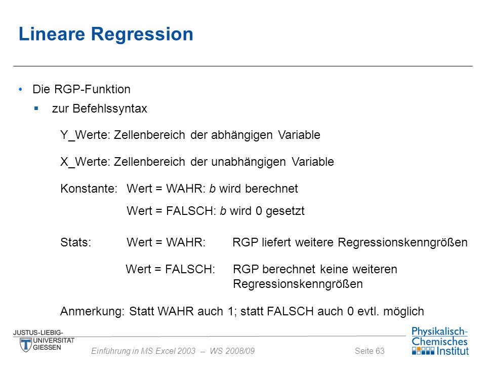 Lineare Regression Die RGP-Funktion zur Befehlssyntax