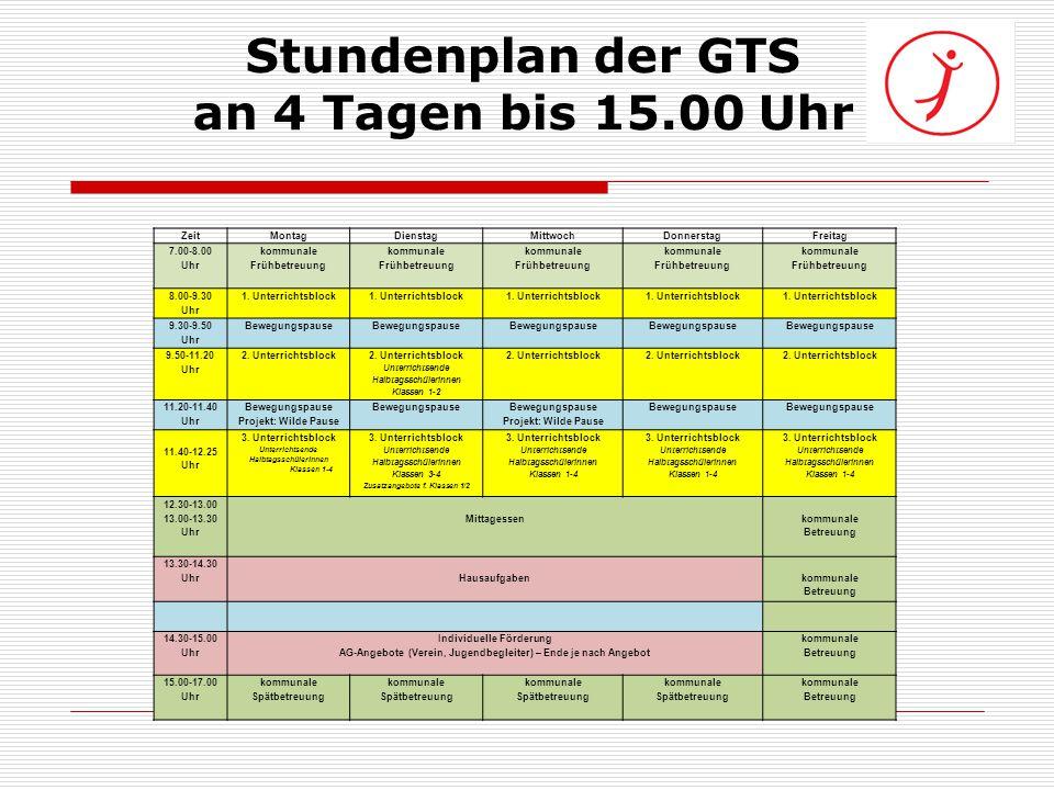 Stundenplan der GTS an 4 Tagen bis 15.00 Uhr