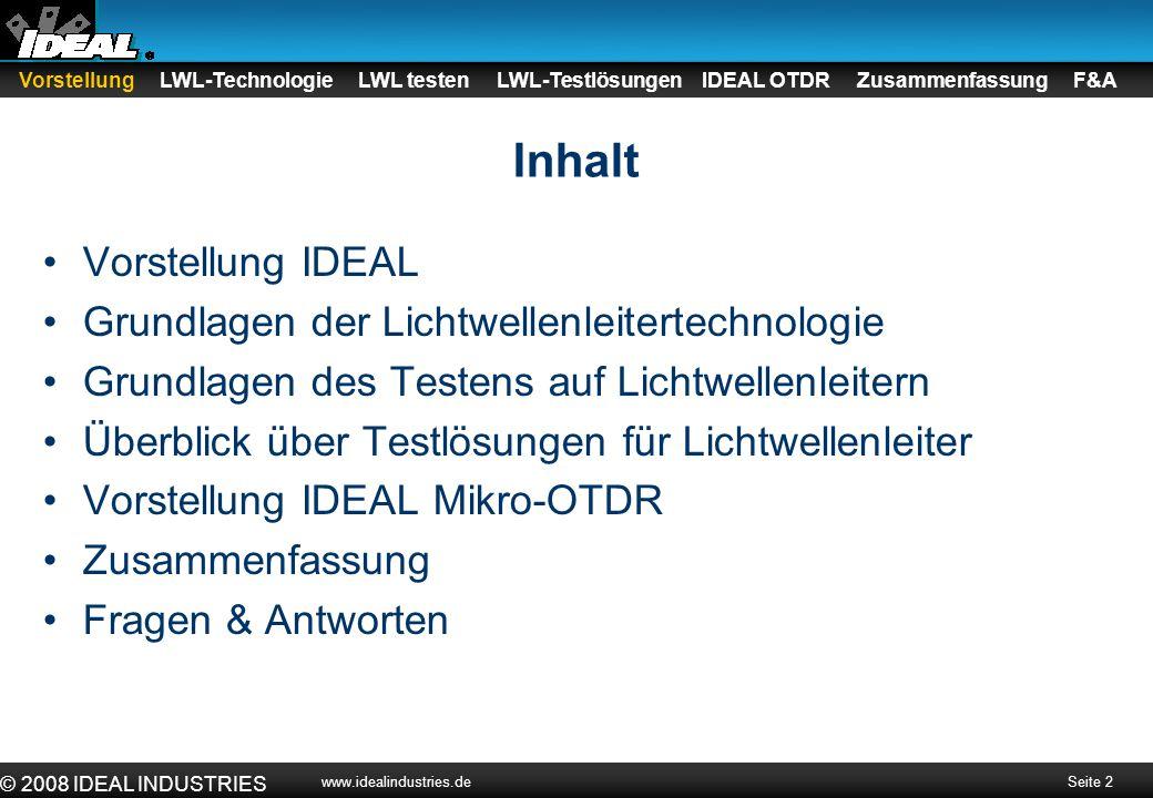 Inhalt Vorstellung IDEAL Grundlagen der Lichtwellenleitertechnologie