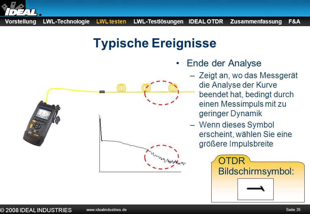 Typische Ereignisse Ende der Analyse OTDR Bildschirmsymbol:
