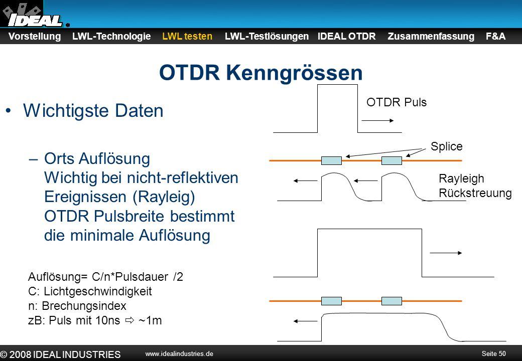 OTDR Kenngrössen Wichtigste Daten