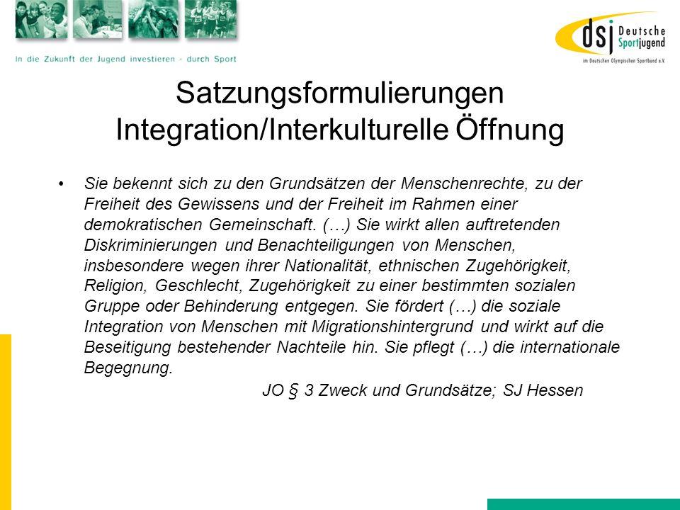 Satzungsformulierungen Integration/Interkulturelle Öffnung