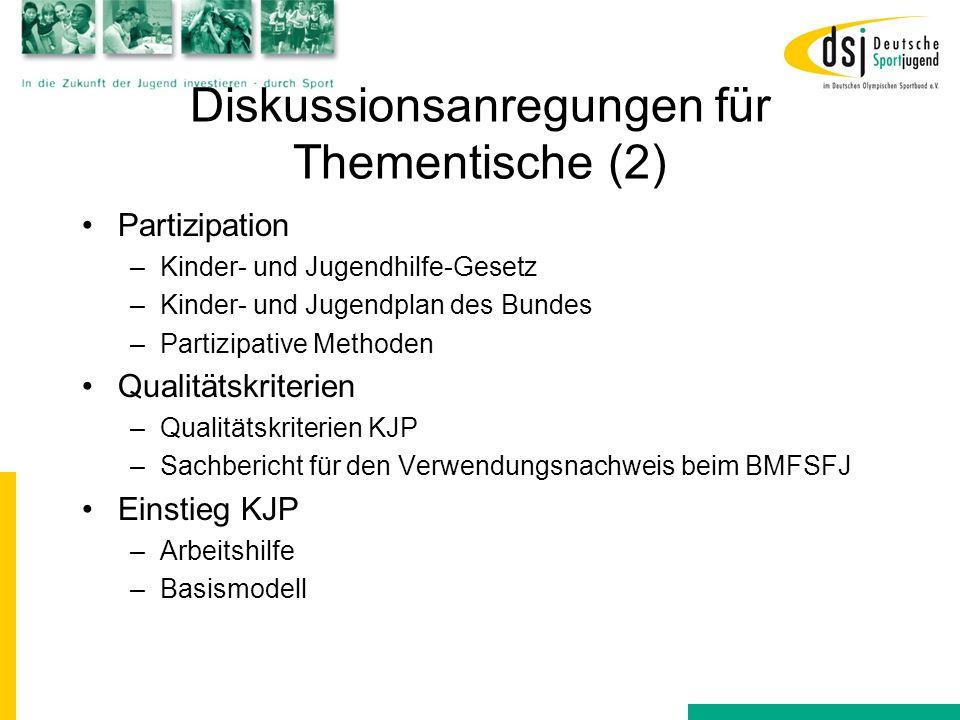 Diskussionsanregungen für Thementische (2)