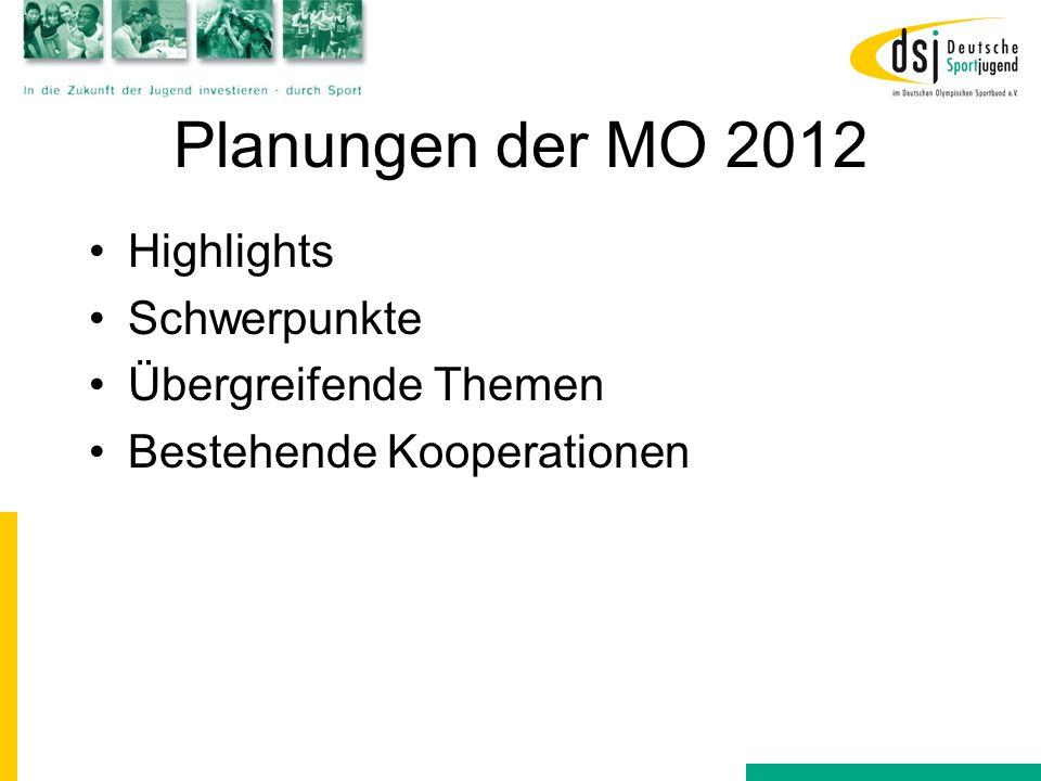 Planungen der MO 2012 Highlights Schwerpunkte Übergreifende Themen