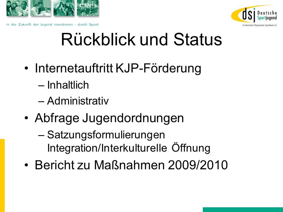 Rückblick und Status Internetauftritt KJP-Förderung