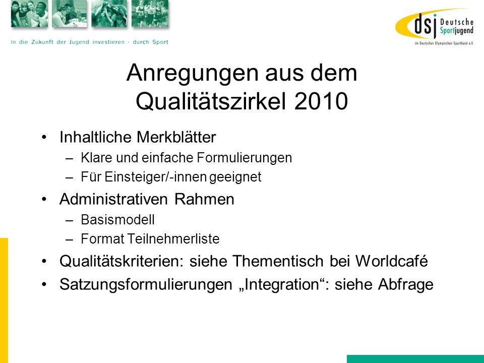 Anregungen aus dem Qualitätszirkel 2010