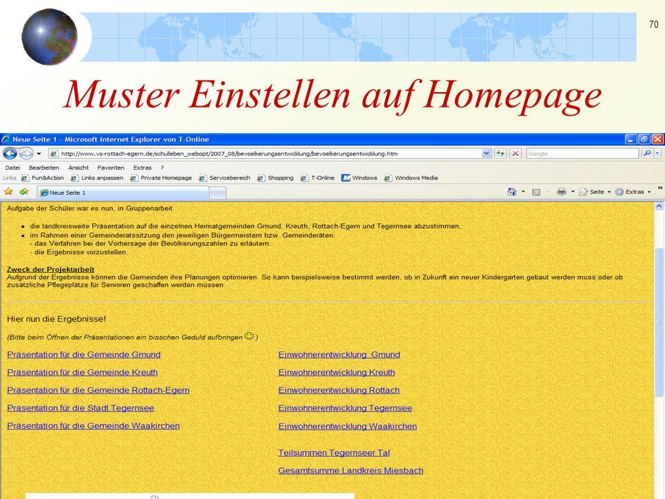 Muster Einstellen auf Homepage