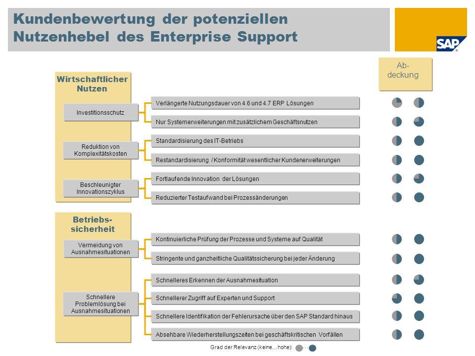 Kundenbewertung der potenziellen Nutzenhebel des Enterprise Support