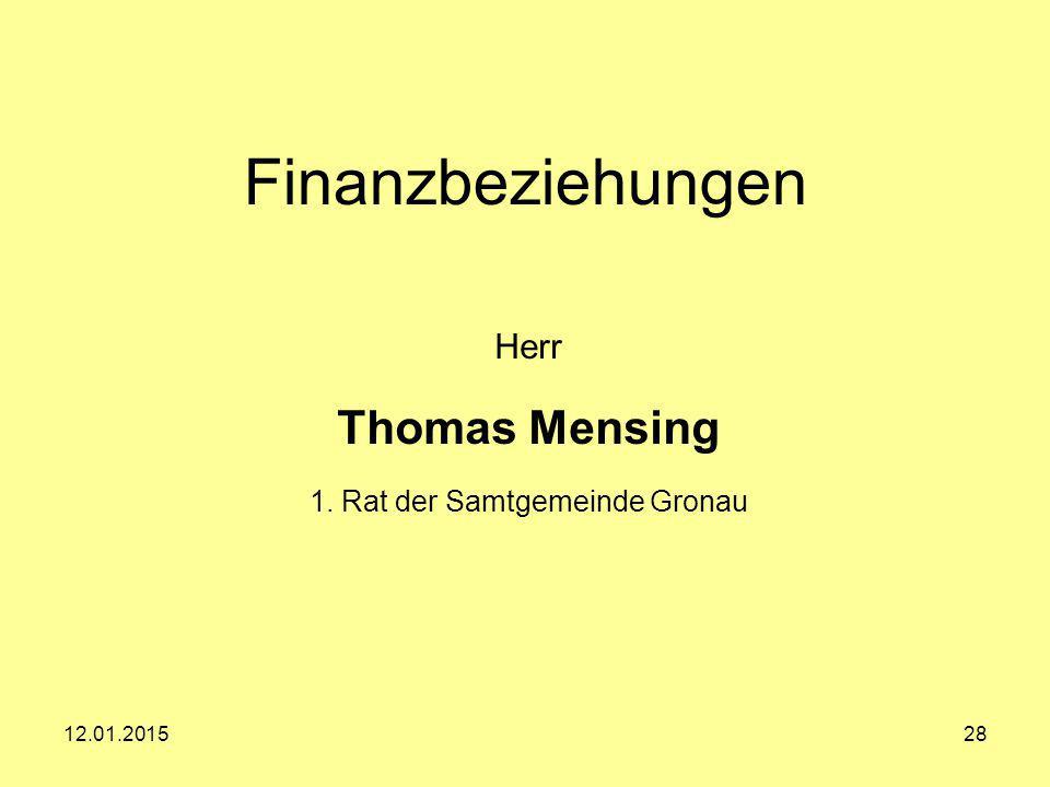 Herr Thomas Mensing 1. Rat der Samtgemeinde Gronau
