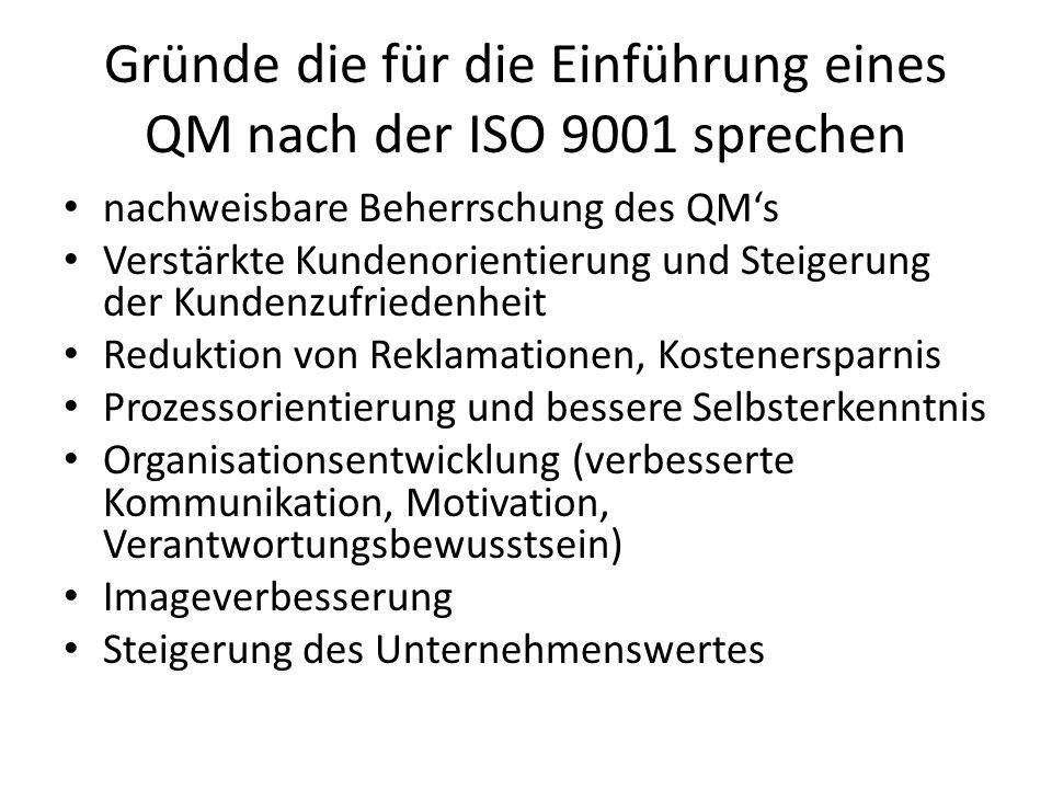 Gründe die für die Einführung eines QM nach der ISO 9001 sprechen