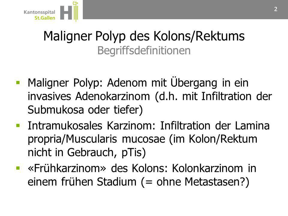 Maligner Polyp des Kolons/Rektums Begriffsdefinitionen