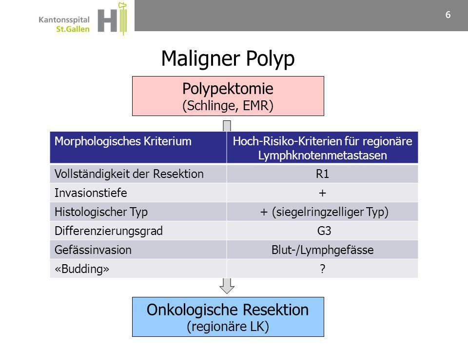 Maligner Polyp Polypektomie Onkologische Resektion (Schlinge, EMR)