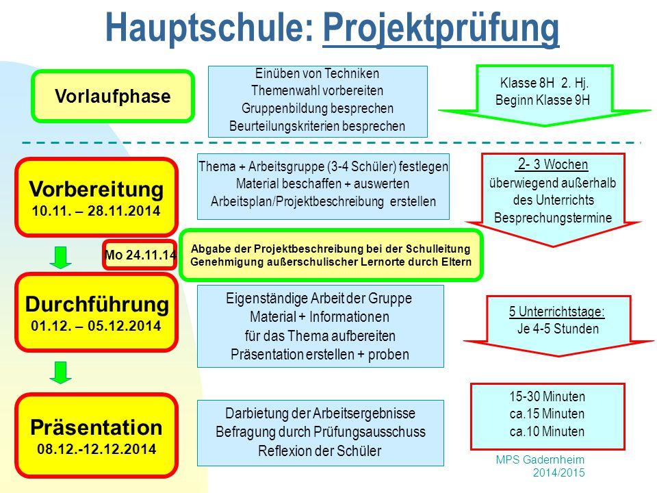 Hauptschule: Projektprüfung