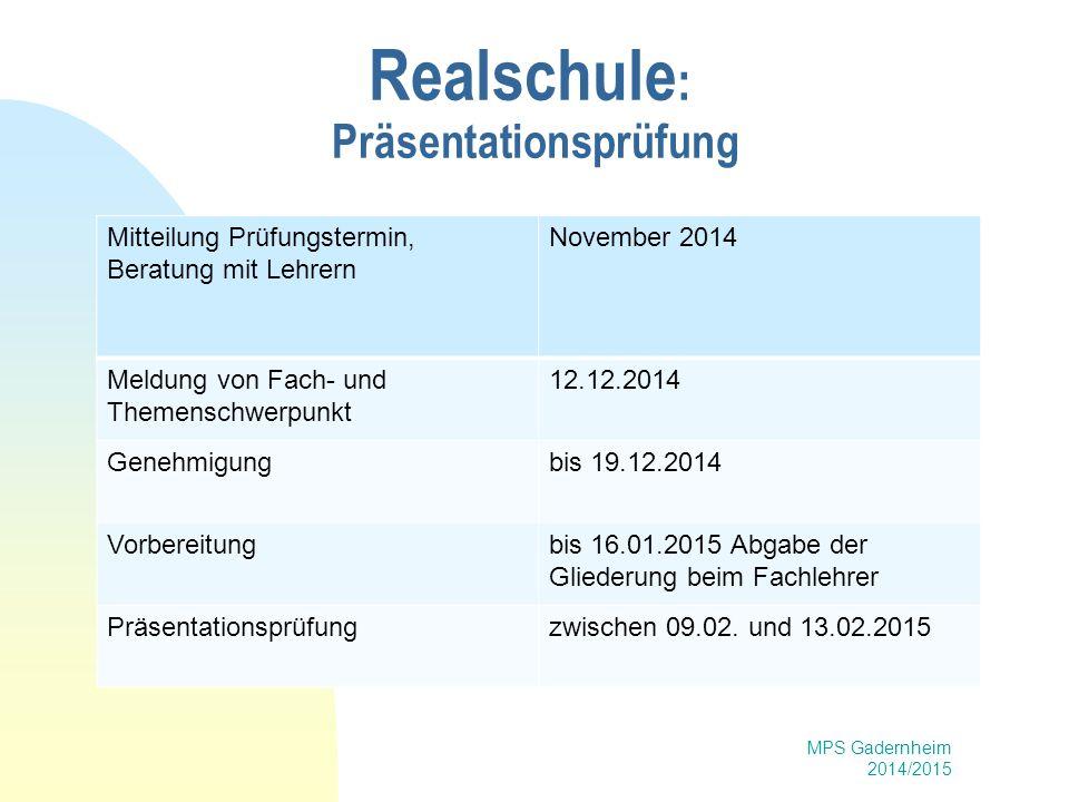 Realschule: Präsentationsprüfung