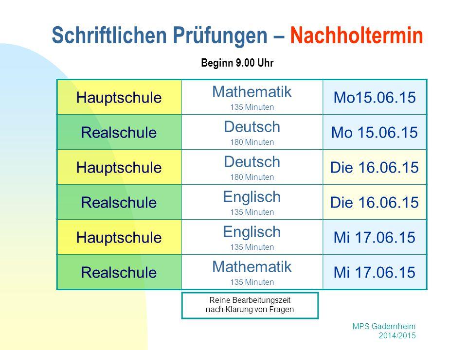 Schriftlichen Prüfungen – Nachholtermin Beginn 9.00 Uhr