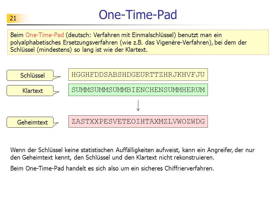One-Time-Pad HGGHFDDSABSHDGEURTTZHRJKHVFJU