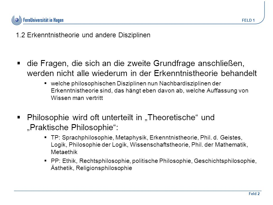 1.2 Erkenntnistheorie und andere Disziplinen